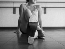 Black and White Version of Perspective-Tap Shoes on a Dancer Stock Photo
