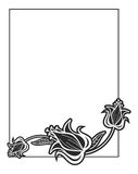 Black and white vertical abstract frame with decorative flowers. Copy space. Raster clip art Royalty Free Stock Images