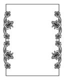 Black and white vertical abstract frame with decorative flowers. Copy space. Raster clip art Stock Photography
