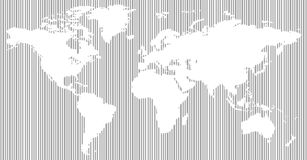 Black and white vertical line pattern world map Stock Photos