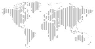 Black and white vertical line pattern world map negative Stock Photography