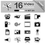 16 Video, Film and Movie Icons - Stickers - Symbols. 16 Black and White Video, Film and Movie Icons for Your Design and Business - Stickers - Symbols - Vector royalty free illustration