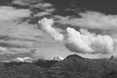 Black and white view of the Apuan Alpes from Viareggio, Lucca, Tuscany, Italy. Europe Stock Images