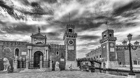 Black and white view of The Arsenal of Venice, Veneto, Italy royalty free stock photos