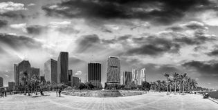 Black and white view of Bayfront Park and buildings in Downtown. Miami - Florida Royalty Free Stock Image