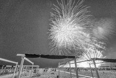 Black and white view of Beach Fireworks Stock Photography