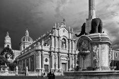 Black and white view of the beautiful elephant fountain in Piazza del Duomo, Catania, Sicily, Italy. Europe stock photo