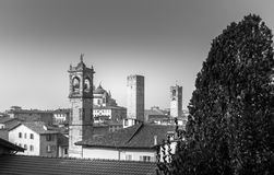 Towers. Black and white view on Bergamo, Italy Stock Photography