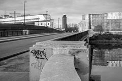 A black and white view from a bridge in Nantes in France. A view from a bridge over the Loire River in Nantes France. The picture is in black and white Royalty Free Stock Photography