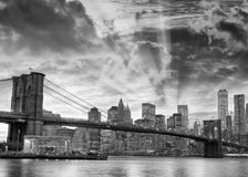 Black and white view of Brooklyn Bridge and Downtown Manhattan a Royalty Free Stock Image