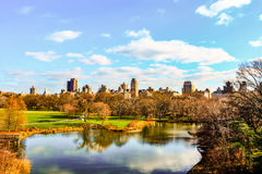 A black and white view of Central Park, during winter, with peo. NEW YORK, NY - JANUARY 02, 2016 - A black and white view of Central Park, during winter, with royalty free stock image