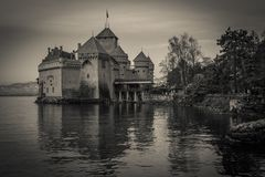 Black and white view of Chillon castle on the Geneve lake. Switzerland Royalty Free Stock Images