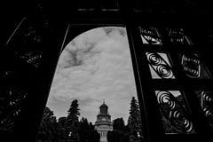 Church between the gate. Black and white view of church between the gate Stock Photography