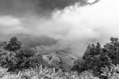 Black and White Azores Pastures. Black and white view of clouds and pastures in the Sete Cidades caldera in Sao Miguel, Azores royalty free stock image