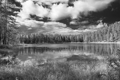 Black and white view of clouds that are reflected in the lake, Punkaharju, Lake District, Finland royalty free stock photo