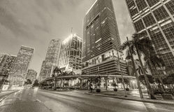 Black and white view of Downtown Miami buildings at sunset Stock Photos