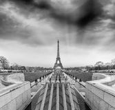 Black and white view of Eiffel Tower in Paris, France Royalty Free Stock Images