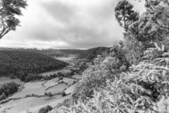 Alferes Caldera Black and White. Black and white view of farmland and pastures in the Sete Cidades caldera in the Azores royalty free stock photo