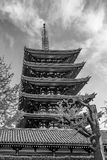 Black and white view of the five-story pagoda of the Senso-ji Temple in Tokyo, Japan royalty free stock photo