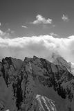 Black and white view on high mountain in winter Stock Image