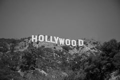 Black And White View Of The Hollywood Sign Stock Photos