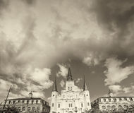 Black and white view of Jackson Square at dusk, New Orleans Stock Photo