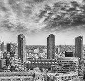 Black and white view of London City. Financial district Royalty Free Stock Images