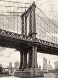Black and white view of the Manhattan bridge in New York Royalty Free Stock Photography