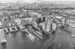 Black and white view of Manhattan buildings, New York City - USA Stock Photography