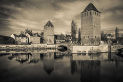 Black and white view of medieval bridge Ponts Couverts from the Barrage Vauban in Strasbourg Stock Photos