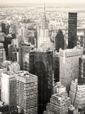 Black and white view of New York City including the Chrysler Bui Royalty Free Stock Photos