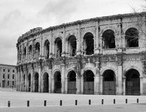 Black and white View of Nimes arena Royalty Free Stock Photos