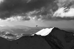Black and white view on off-piste slope for heliskiing and helic Royalty Free Stock Image