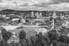 Black and white view of the old Vilnius Stock Photography