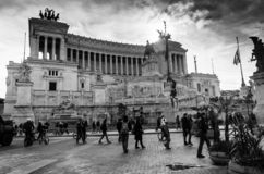 Black and white view of Rome Vittorio Emanuele stock images
