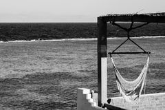 Black-and-white view of the sea. View of the red sea and the reef. On the part of Dahab Royalty Free Stock Image