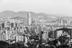 Black and white view of Seoul from the Asan Mountain at sunrise, South Korea
