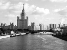 View of skyscapter on the promenade of Moscow river, Russia. Black and white image