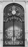 Black and white view of steel classic door in Europe style Royalty Free Stock Image