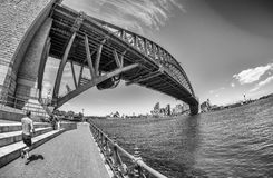 Black and white view of Sydney Harbour Bridge Royalty Free Stock Photos