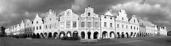 Black and white view of Telc or Teltsch town square Stock Photography