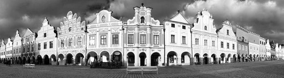 Black and white view of Telc or Teltsch town square Stock Images