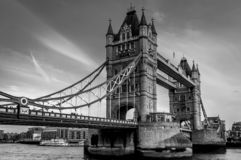 A black and White view of the tower bridge on a beautiful clear morning, London royalty free stock photography