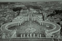 Black and white view of Vatican showing St. Peter`s Square royalty free stock photo