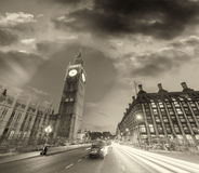 Black and white view of Westminster traffic at night, London Stock Photos