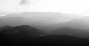 Black and white Views of the Carpathian Mountains. Mount Goverla royalty free stock images