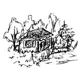 Black and white village house sketched line art vector Royalty Free Stock Images