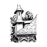 Black and white village house sketched line art  Stock Photo