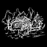 Black and white village house sketched line art vector Royalty Free Stock Photography