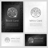 Black and white vintage banners with ornaments, logo and text. Stock Images